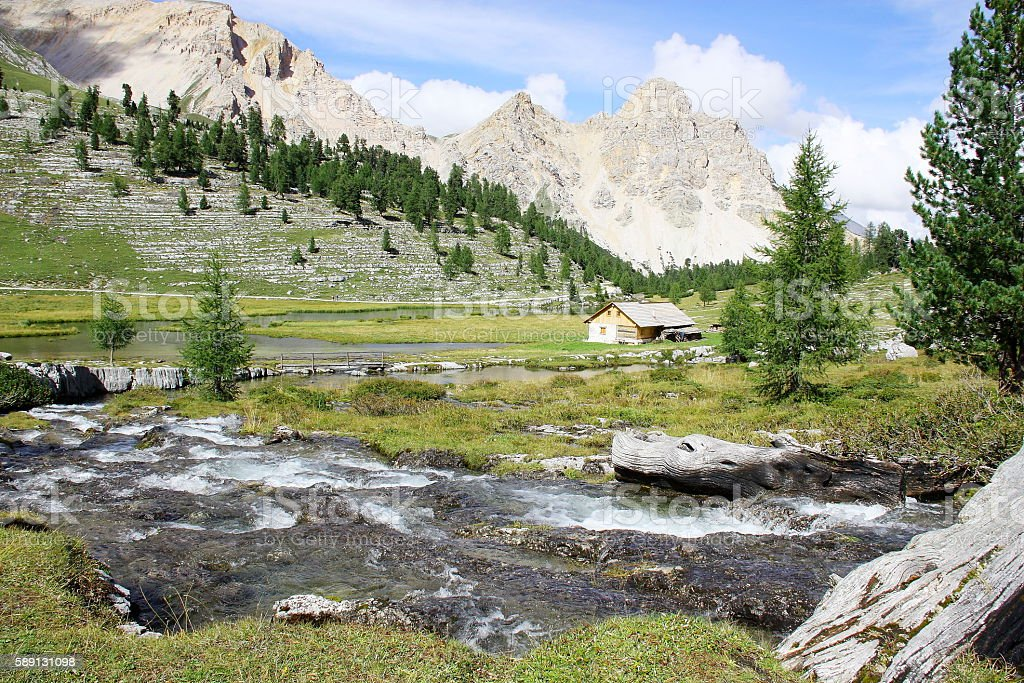 Italian mountain landscape in Dolomiti FANES Nature Park stock photo