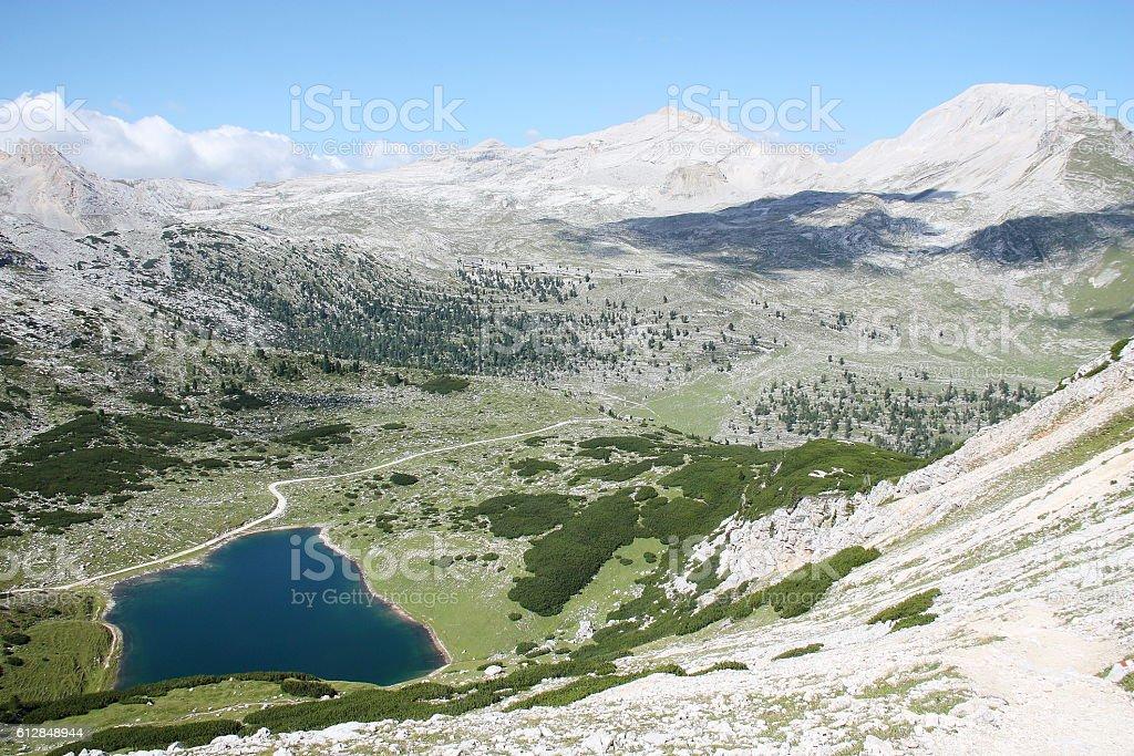 Italian mountain landscape with lake in Dolomiti FANES Nature Park stock photo