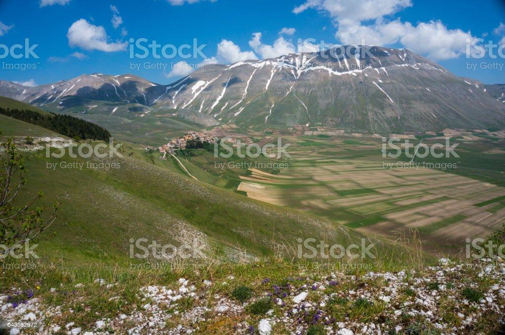 Italian mountain village Castelluccio stock photo