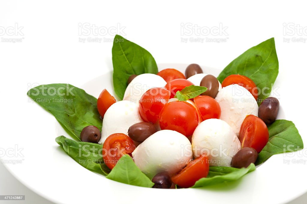 italian mozzarella with olives royalty-free stock photo