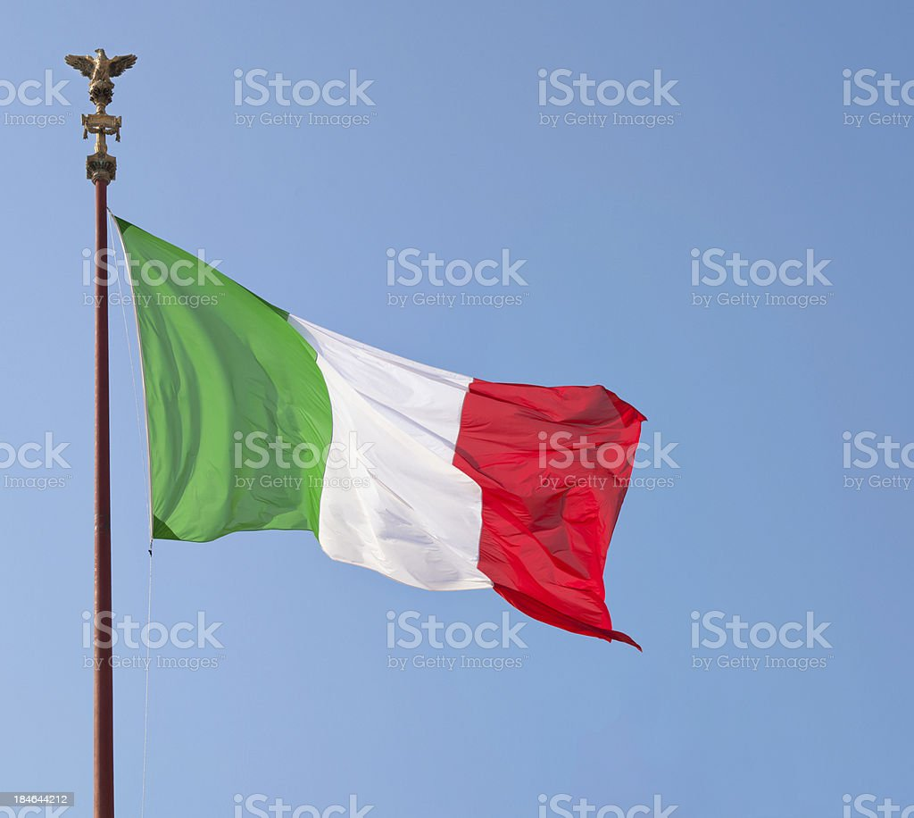 Italian National Flag in Rome royalty-free stock photo