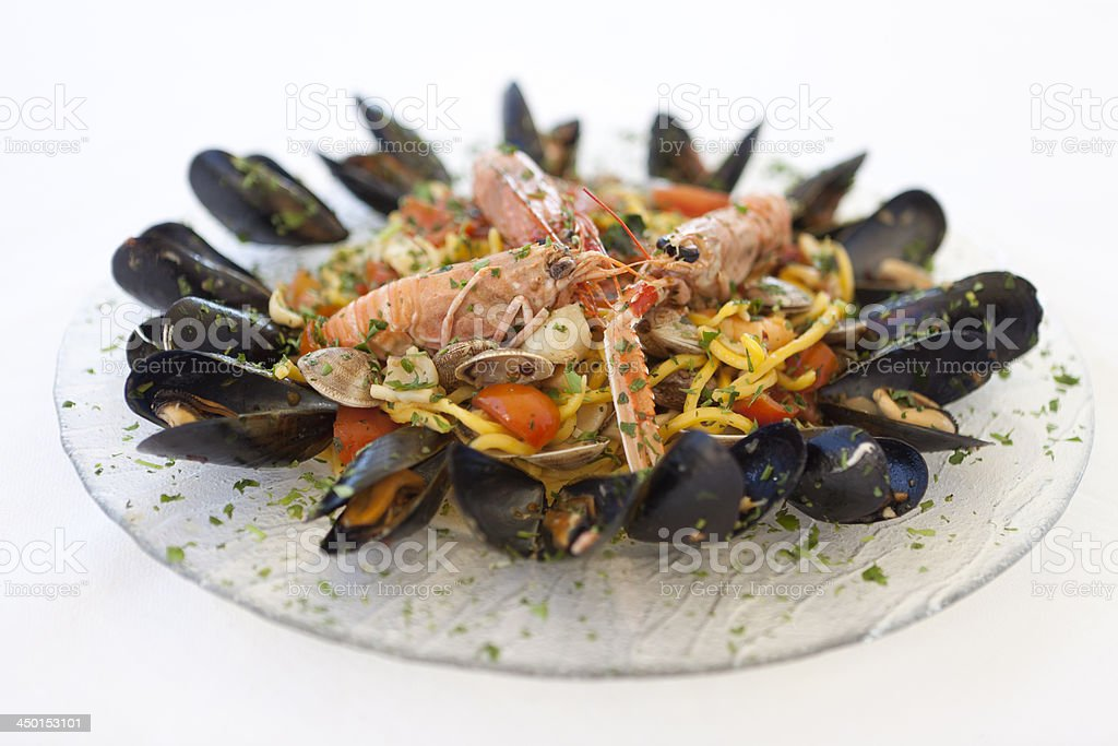 Italian noodles with seafood stock photo
