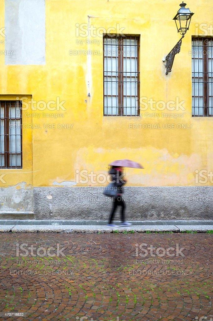 Italian old city centre, raining day. Color image stock photo