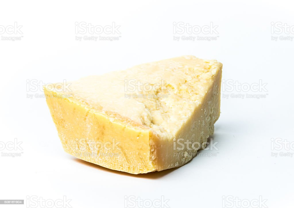 Italian original Parmesan cheese on white background stock photo