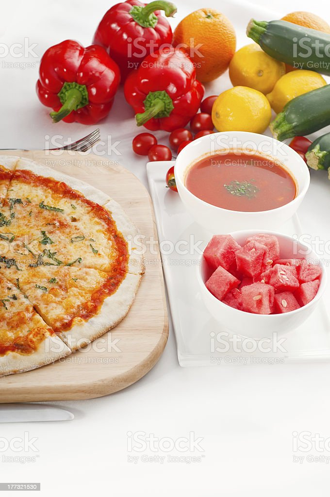 Italian original thin crust pizza royalty-free stock photo