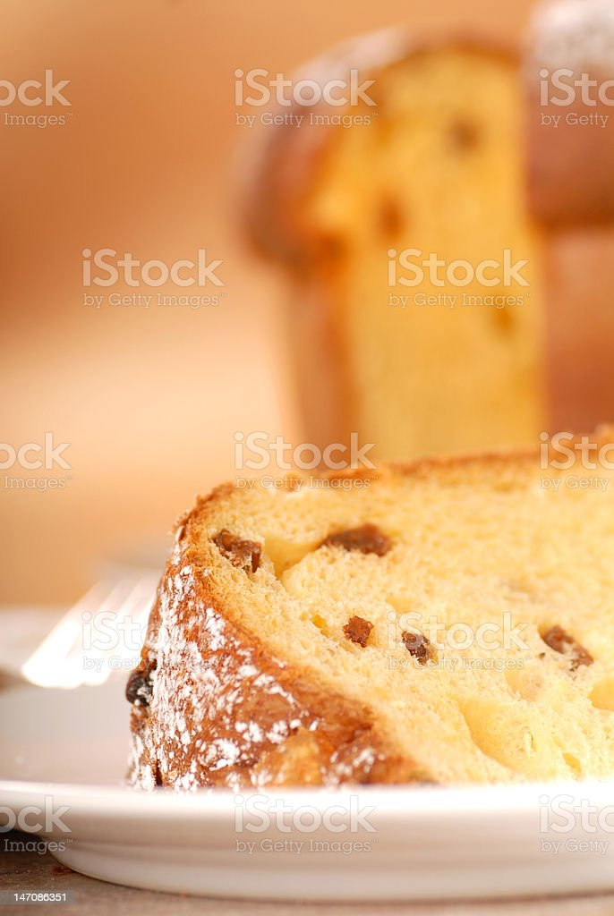 Italian Panettone Christmas Bread with a slice cut out stock photo