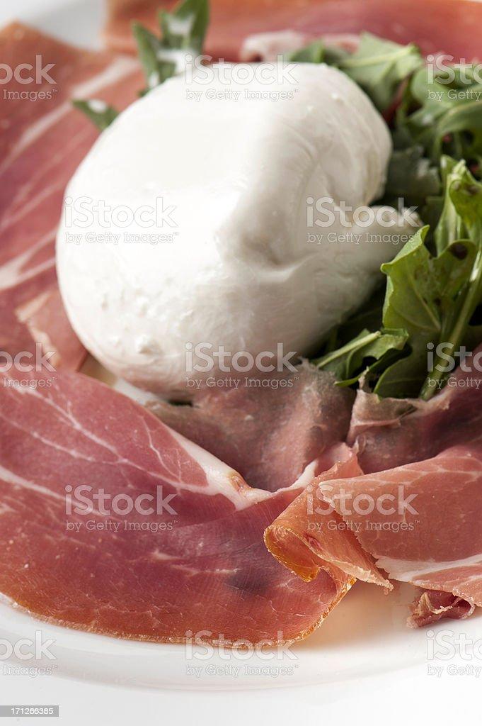 Italian Parma Prosciutto and buffalo mozzarella royalty-free stock photo