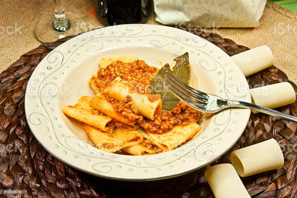 Italian pasta called 'Paccheri' with meat souce stock photo