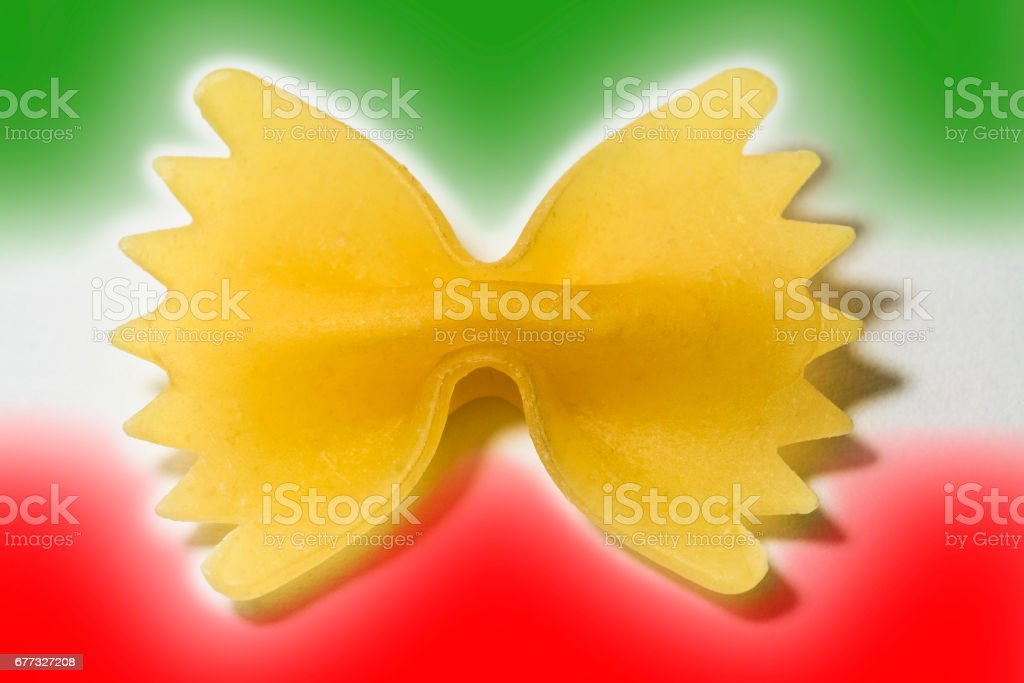 Italian pasta concept image on colored background with italian flag colors stock photo
