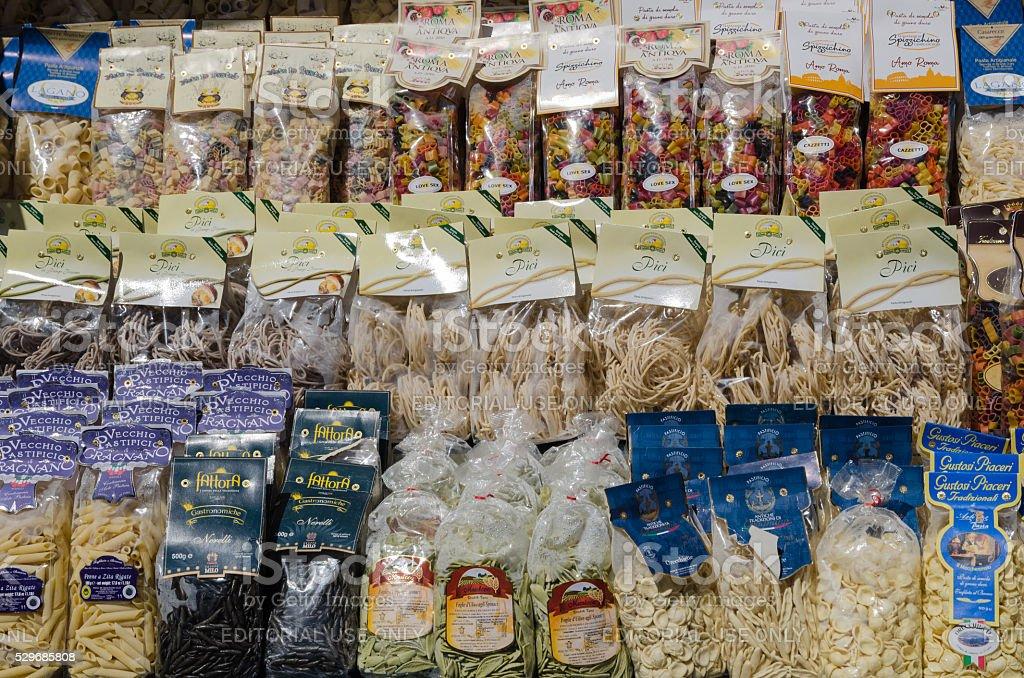 Italian pasta packs stock photo