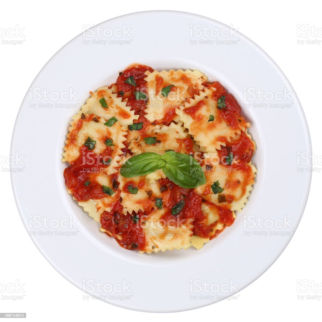 Italian Pasta Ravioli with tomato sauce noodles meal isolated stock photo