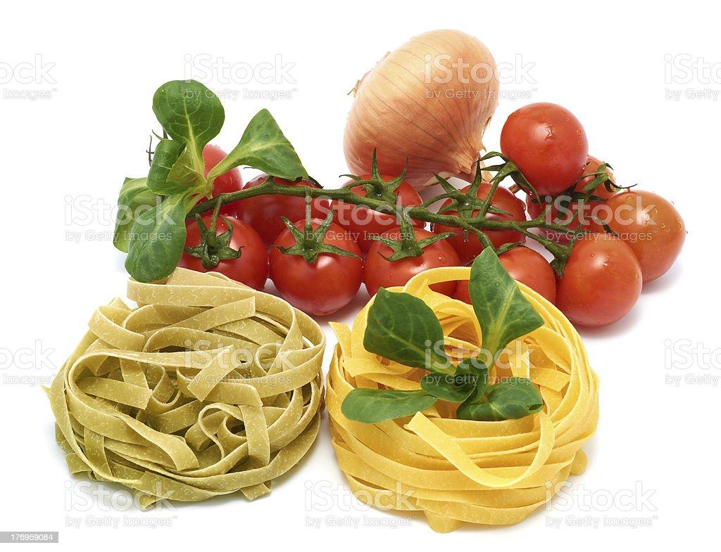 Italian pasta tagliatelle with vegetables royalty-free stock photo