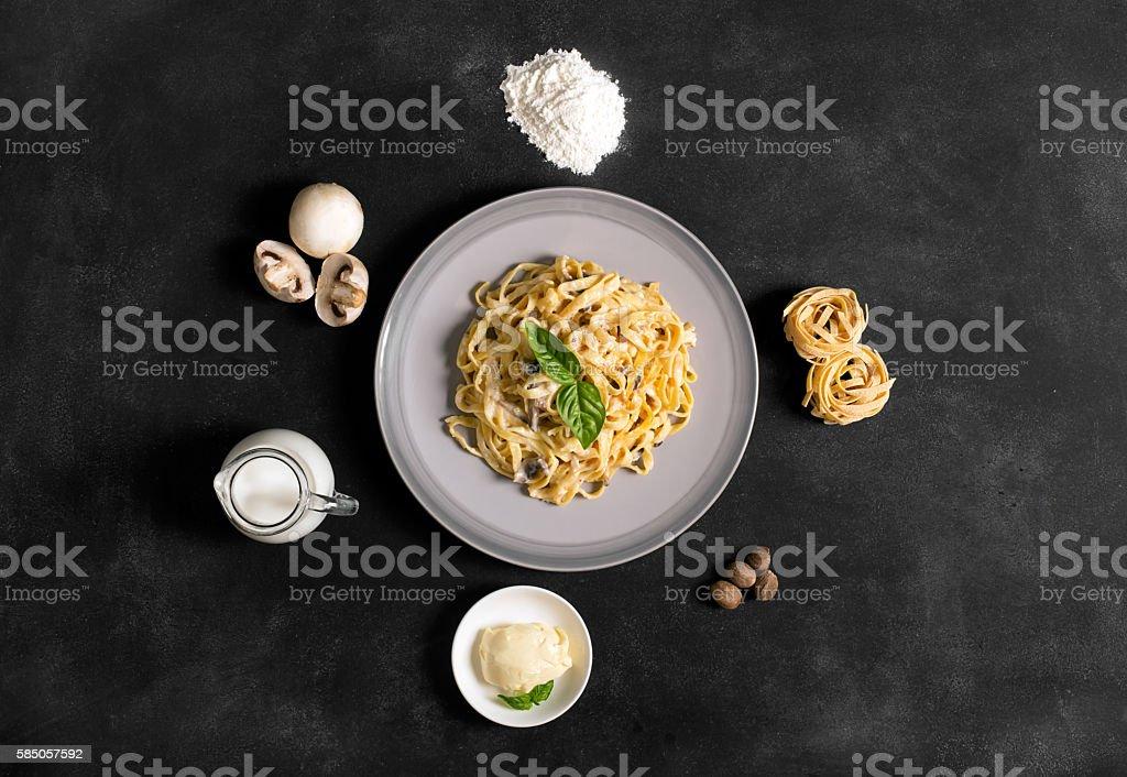Italian pasta with french white sauce stock photo