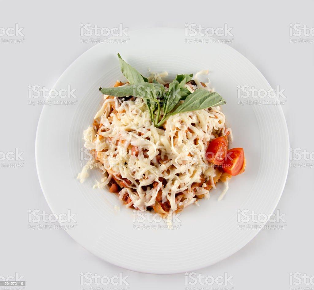 Italian pasta with parmesan. stock photo