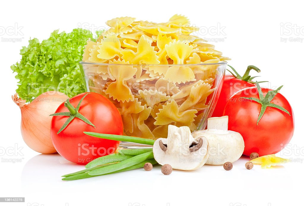 Italian Pasta with Tomato, Fresh Scallions, Lettuce and champignons isolated royalty-free stock photo