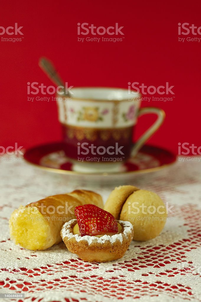 Italian pastries with espresso royalty-free stock photo