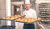 italian pastry chef baking croissants