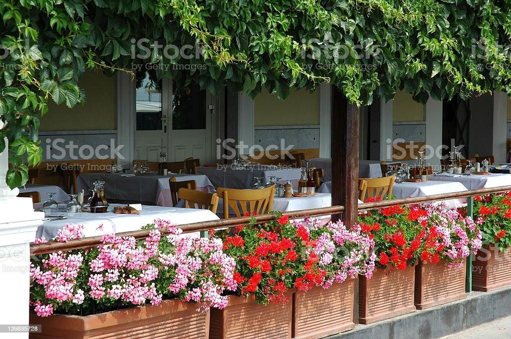 Italian patio waiting for customers stock photo