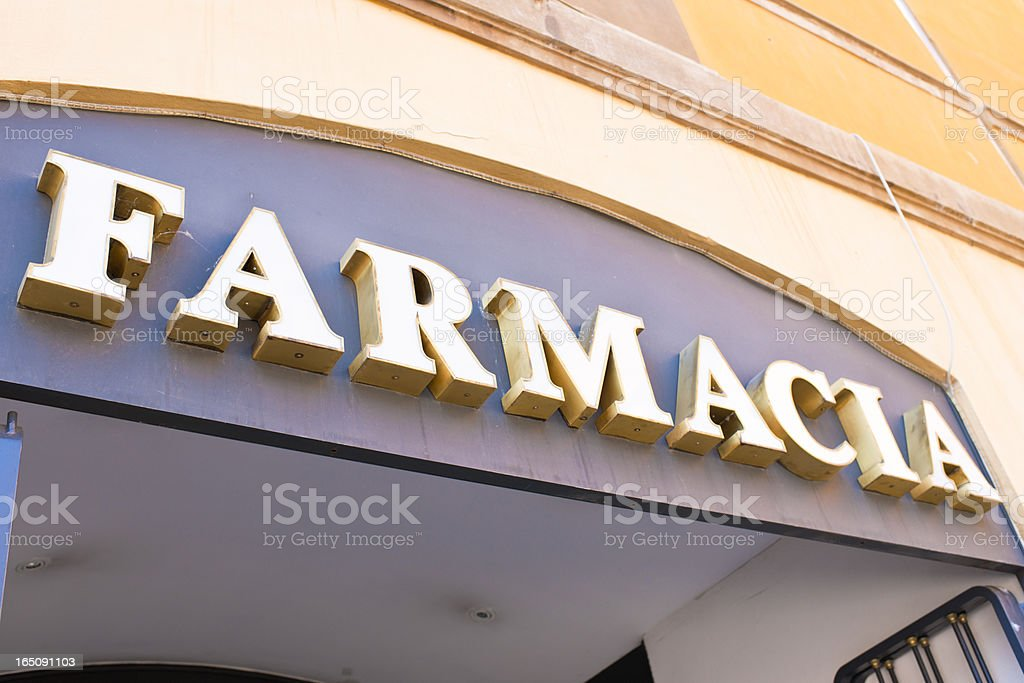Italian Pharmacy Sign royalty-free stock photo