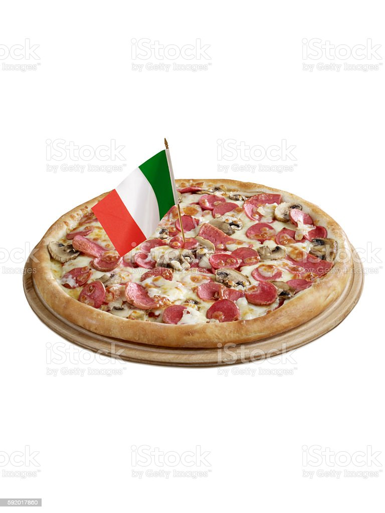 Italian Pizza With  Flag stock photo