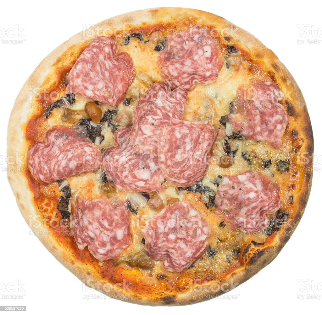 Italian pizza with sausage isolated on white stock photo