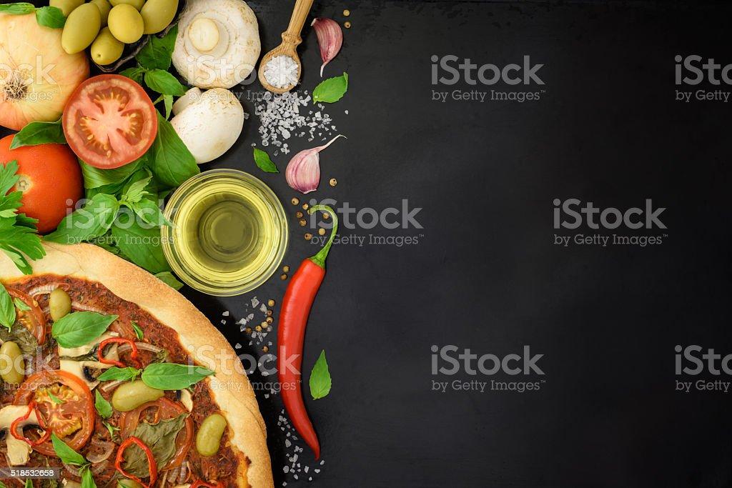 Italian pizza with vegetable ingredients stock photo