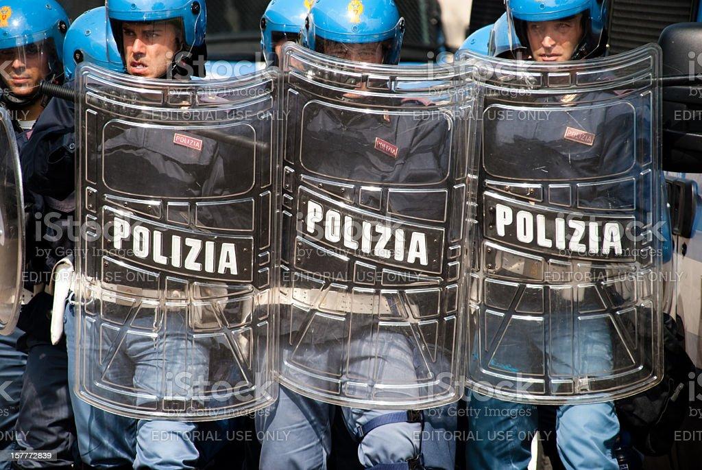 Italian Police in anti-riot structure stock photo