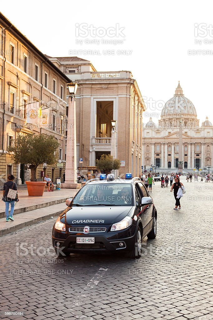 Italian police in Rome - St. Peter's Basilica In Vatican stock photo