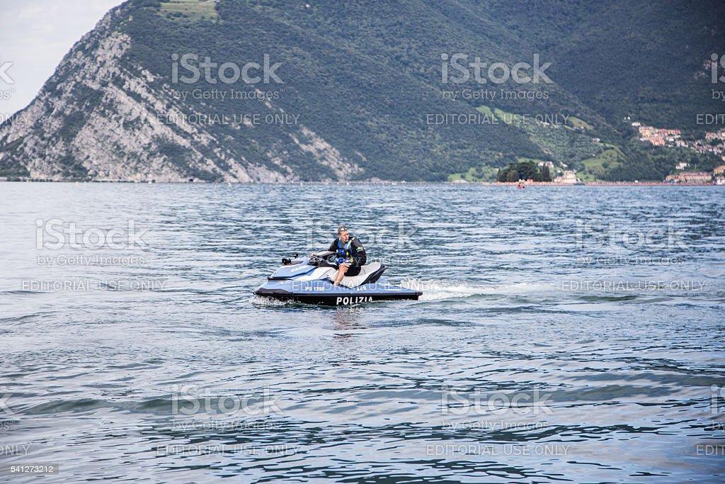 Italian Police on jet ski stock photo