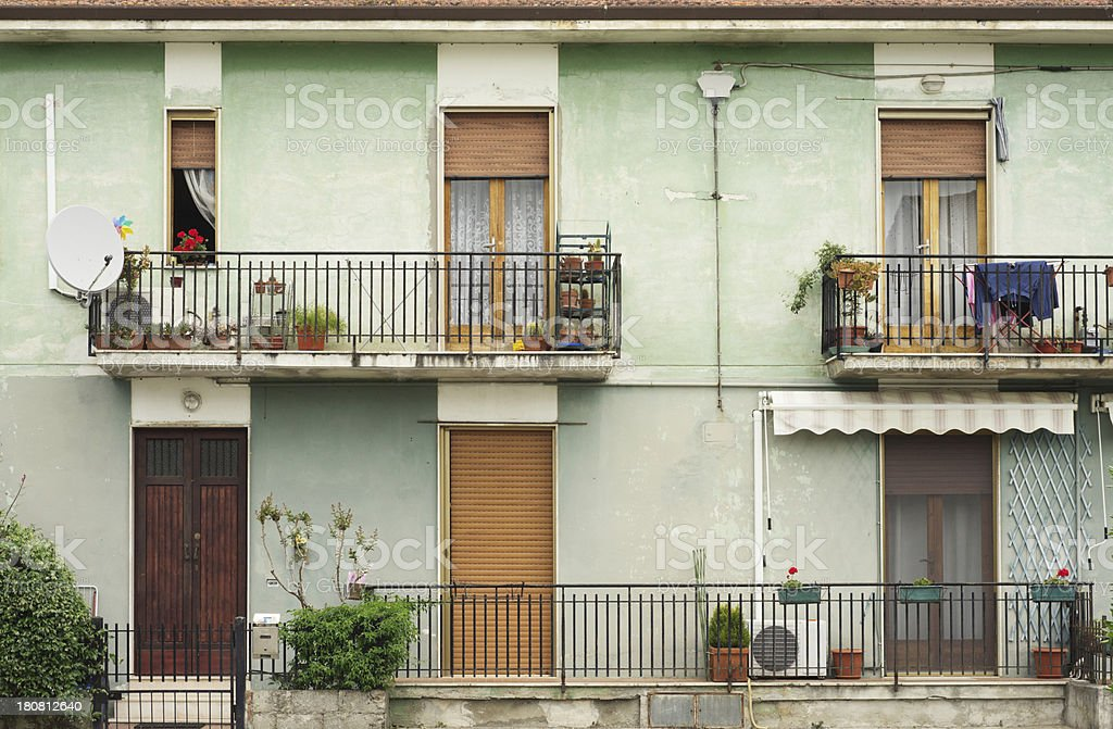 Italian popular flats - Architecture background with balconies royalty-free stock photo