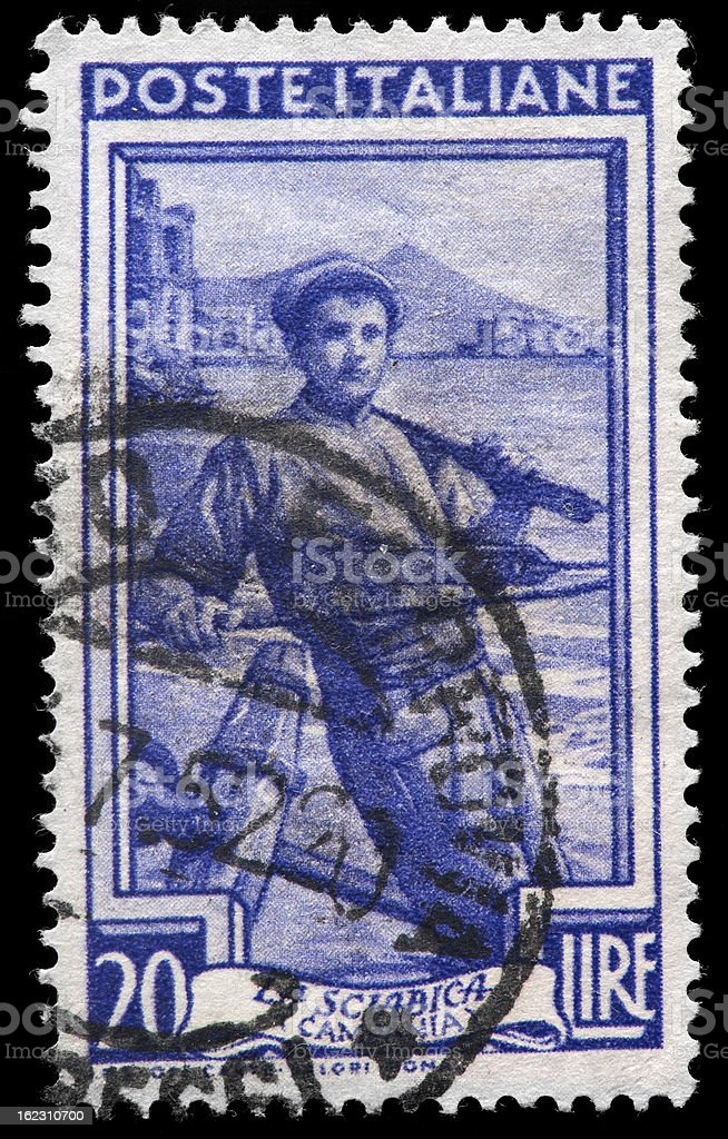 Italian Postage Stamp Featuring La Sciabica stock photo