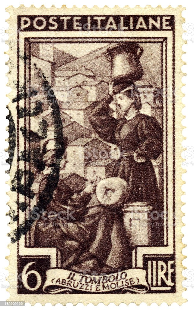 Italian postage stamp: 'Il Tombolo' stock photo