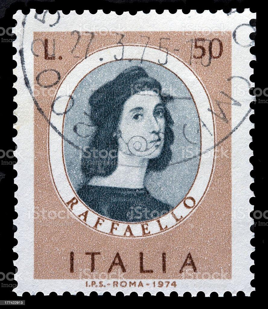 Italian postage stamp with a picture of Raphael (Raffaello) stock photo
