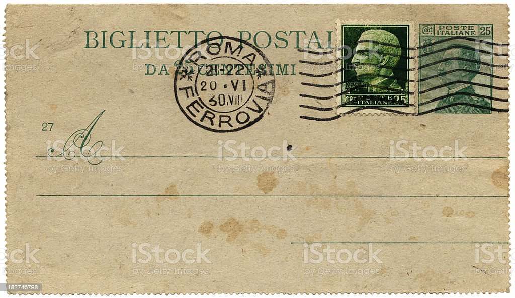 Italian postcard from 1890, posted in Rome royalty-free stock photo