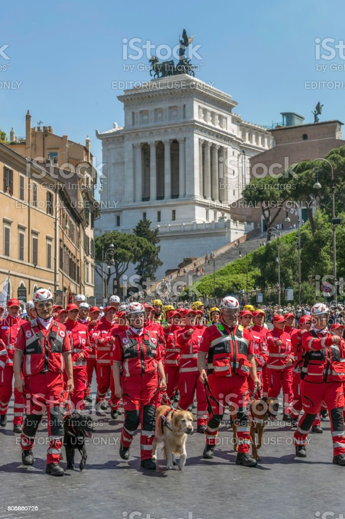 Italian Red Cross troops with dogs trained for rescue missions stock photo