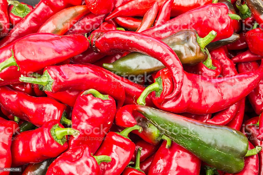 Italian Red Peppers at the market stock photo
