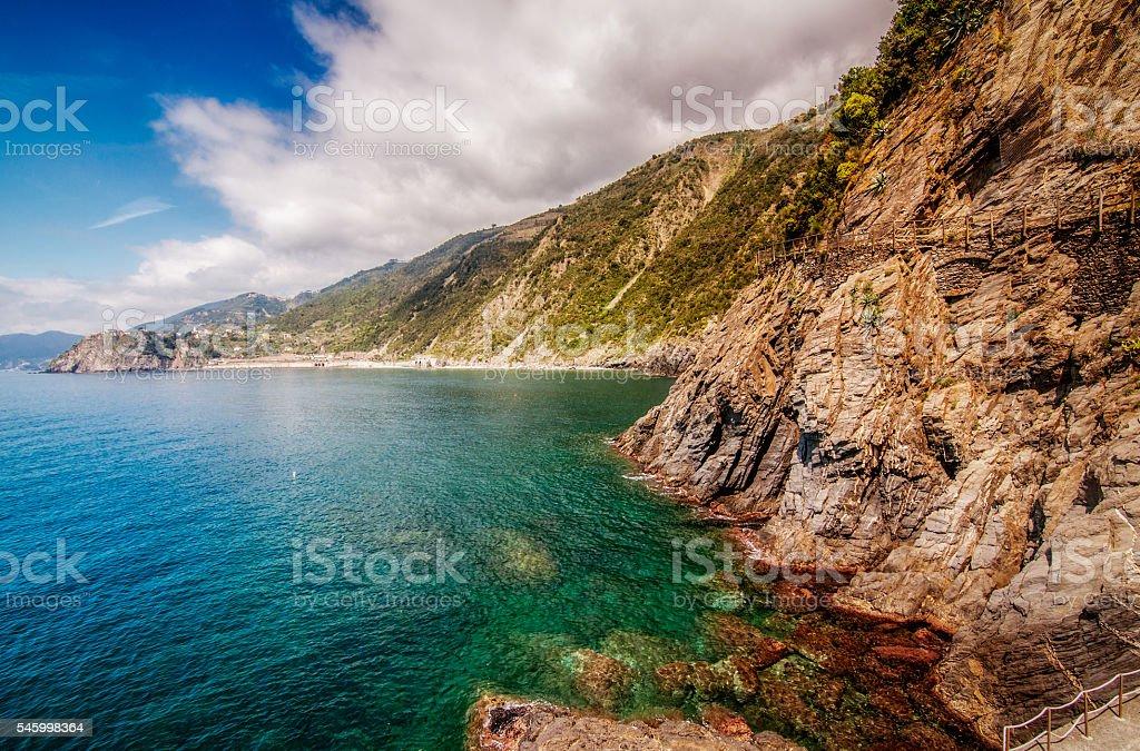 Italian riviera coastline stock photo