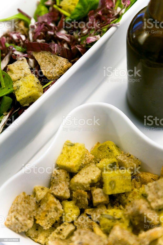 Italian Salad w. Bread Croutons stock photo