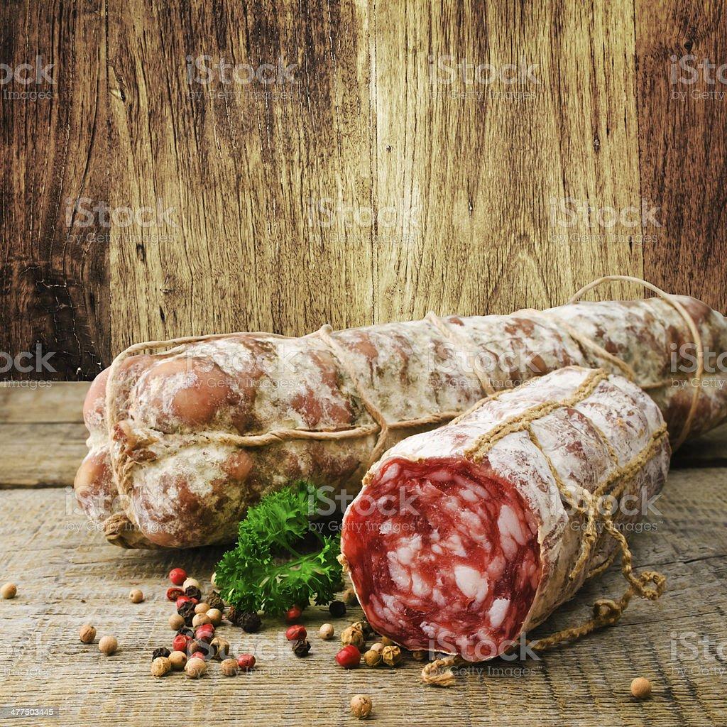 Italian salami stock photo
