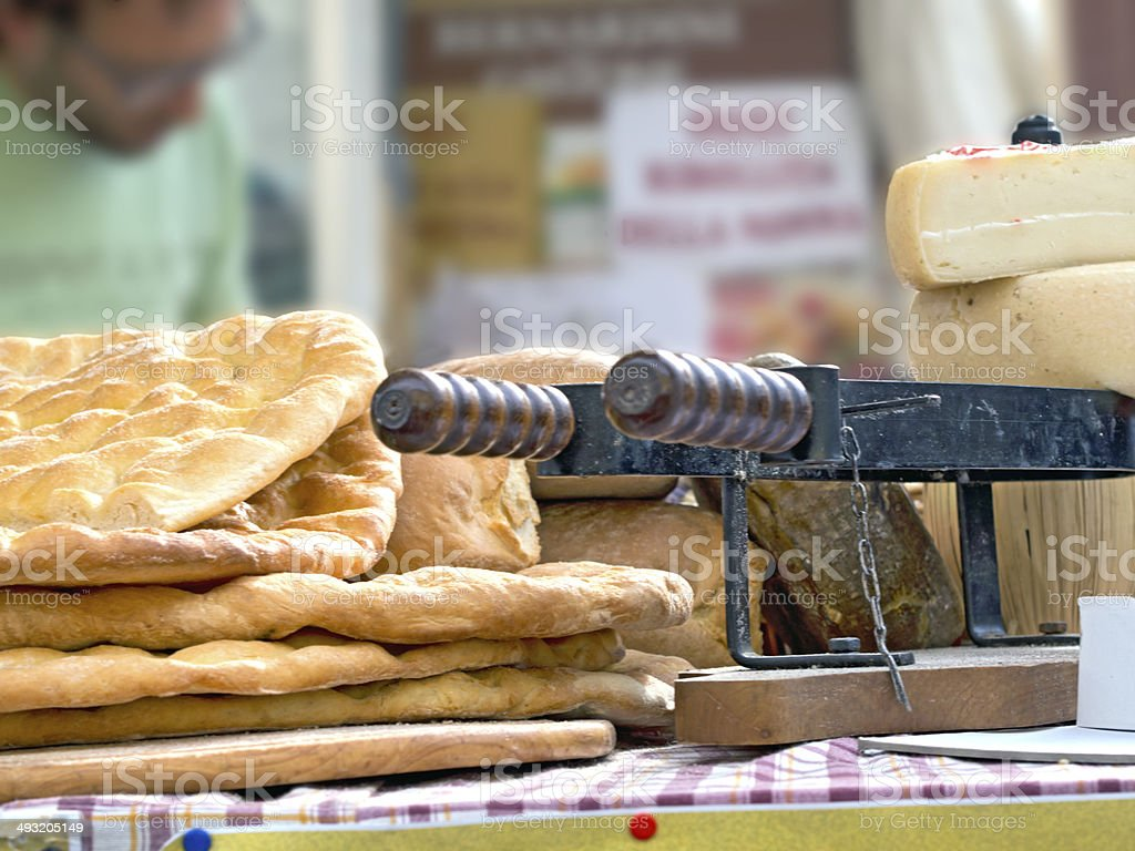 italian salt flat breads exposed on a table stock photo
