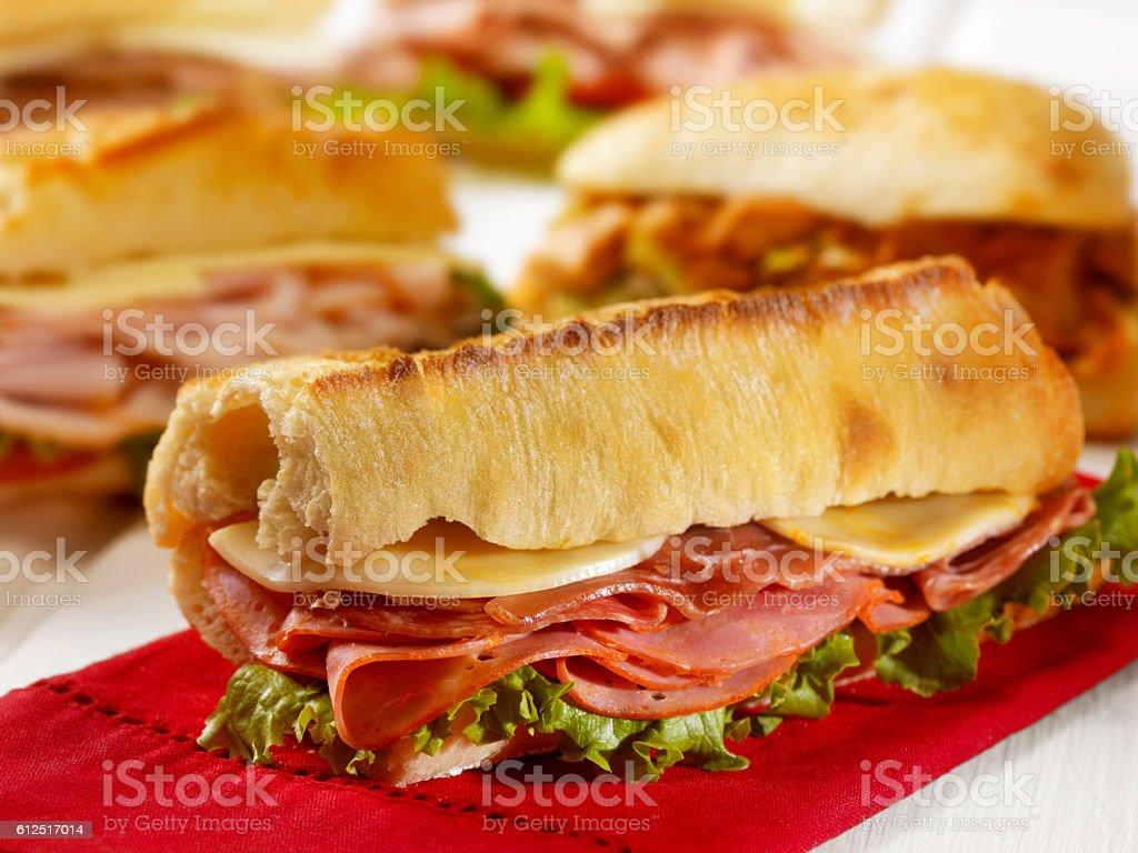 Italian Sandwich on a Ciabatta Bread stock photo