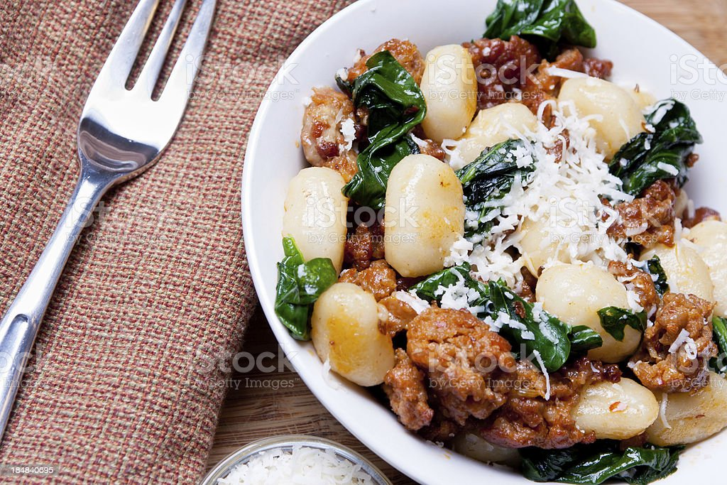 Italian Sausage, Spinach and Gnocci royalty-free stock photo