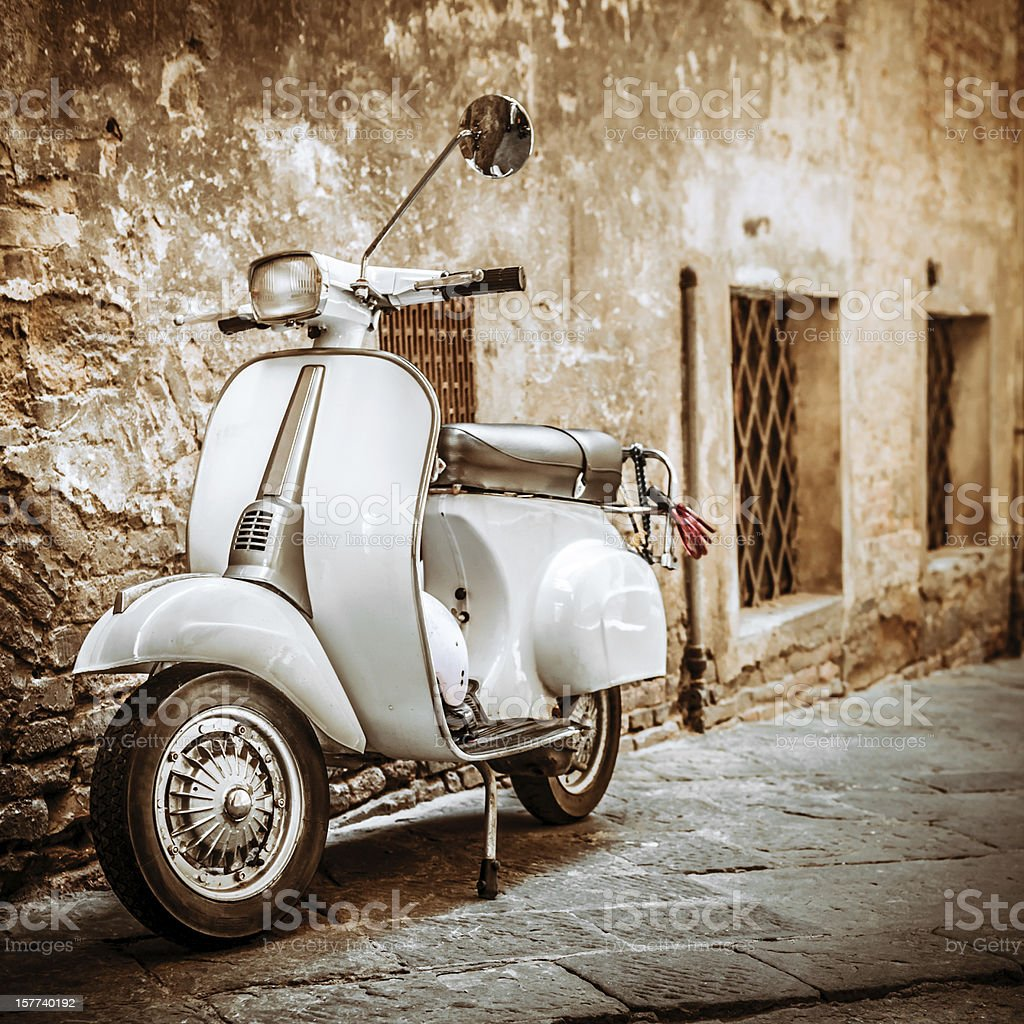 Italian Scooter in Grungy Alley, Vintage Mood stock photo