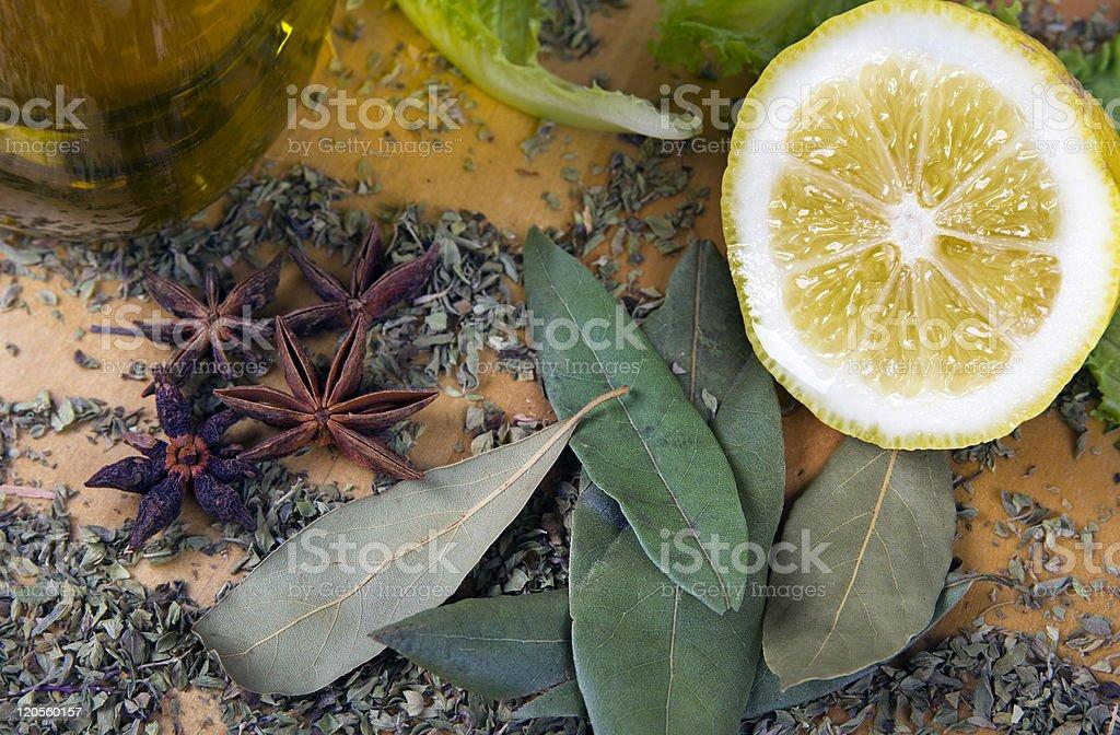 Italian seasonings and spices stock photo