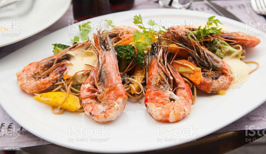 Italian Shrimp and Pasta stock photo