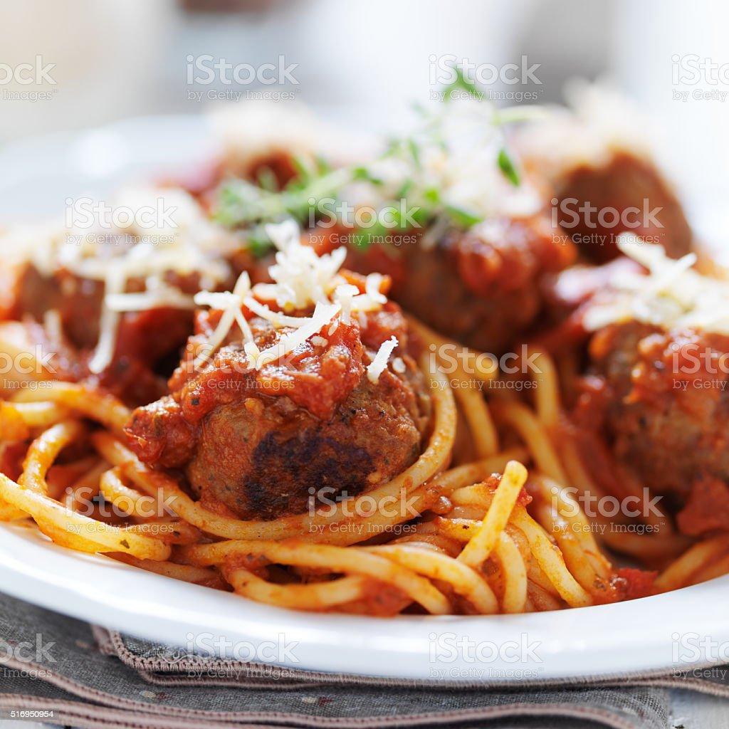 italian spaghetti and metaball dinner close up stock photo