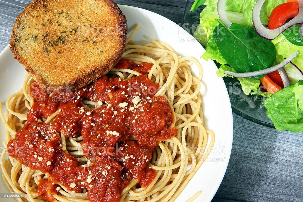 Italian spaghetti dinner plate setting stock photo