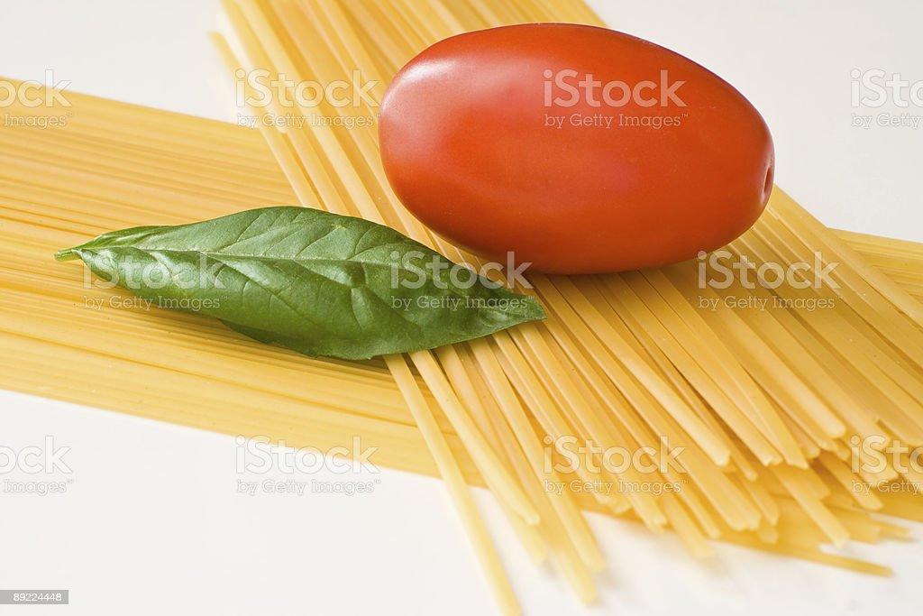Italian spaghetti ingredients royalty-free stock photo