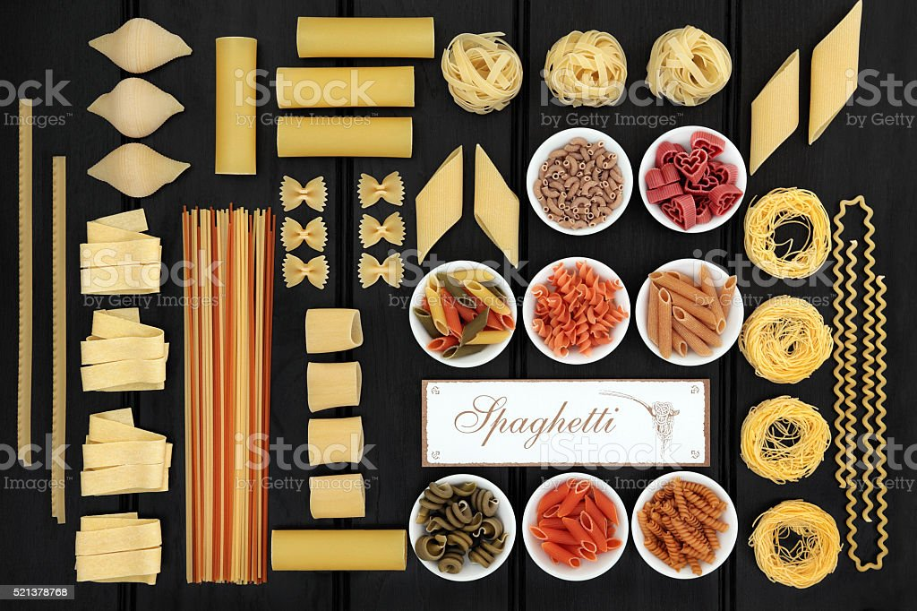 Italian Spaghetti Pasta Sampler stock photo