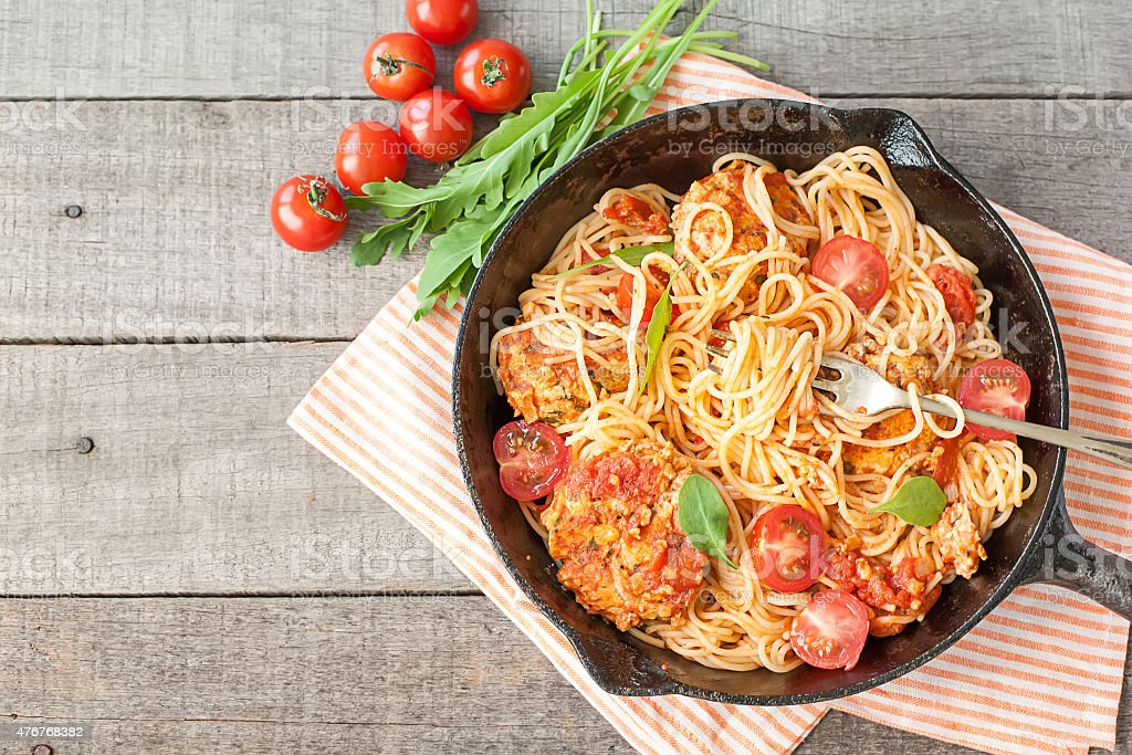 Italian spaghetti with meatballs stock photo